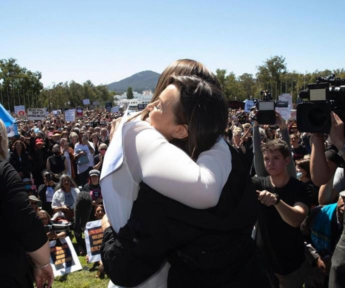Brittany and Lisa embraced at the March 4 Justice protests in Canberra.
