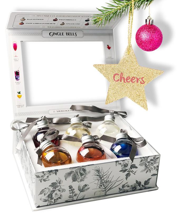 """**[Gingle Bells Gin Baubles Gift Pack of 6 Baubles, $79, Dan Murphy's](https://fave.co/3BybfGt