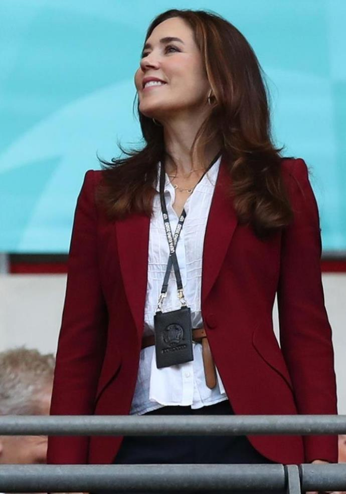 Mary wore the blazer to a football game in July.