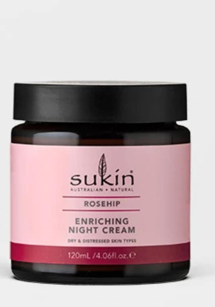 "Enriching Night Cream Rosehip, $24.95, [Sukin.](https://go.skimresources.com?id=105419X1569321&xs=1&url=https%3A%2F%2Fsukinnaturals.com.au%2Fcollections%2Fall%2Fproducts%2Fenriching-night-cream-rosehip-120ml target=""_blank"")"