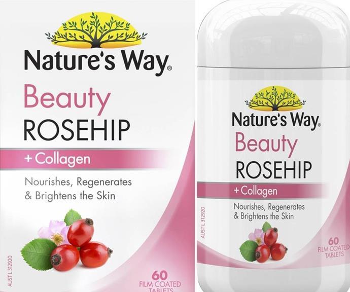 "Nature's Way Rosehip & Collagen Tablets, $30.00, [WoolWorths.](https://go.skimresources.com?id=105419X1569321&xs=1&url=https%3A%2F%2Fwww.woolworths.com.au%2Fshop%2Fproductdetails%2F57310%3Fprodup%3D1332648579%26region_id%3D201800%26cq_src%3DGOOGLE%26cq_cmp%3DWoolies_8458_BAU_Shopping_Smart_Health_WW-0001%26cq_con%3DHealth%26cq_term%3DPRODUCT_GROUP%26cq_net%3Du%26cq_plt%3Dgp%26cq_med%3D71700000085455711%26cq_gclid%3DCj0KCQjwwY-LBhD6ARIsACvT72MtqXmocnCpn_d1kPw1QQryleW9F6LHAzoF7bNtojA3bkQfyWZG53saAu9-EALw_wcB%26cmpid%3Dsmsm%3Ads%3AGOOGLE%3AWoolies_8458_BAU_Shopping_Smart_Health_WW-0001%3APRODUCT_GROUP%26gclid%3DCj0KCQjwwY-LBhD6ARIsACvT72MtqXmocnCpn_d1kPw1QQryleW9F6LHAzoF7bNtojA3bkQfyWZG53saAu9-EALw_wcB%26gclsrc%3Daw.ds target=""_blank"")"