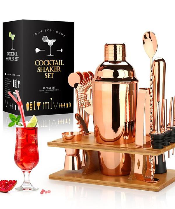 **Cocktail making set** <br><br> Treat your alcohol-loving friends and family to this 16 piece cocktail set this silly season.  <br><br> It features everything you need to get started creating decadent, classy cocktails, including a corkscrew, muddler, strainer, four pouring nozzles and a wooden stand.  <br><br> For $145, the gift set from The Decor House is available in rose gold or silver.