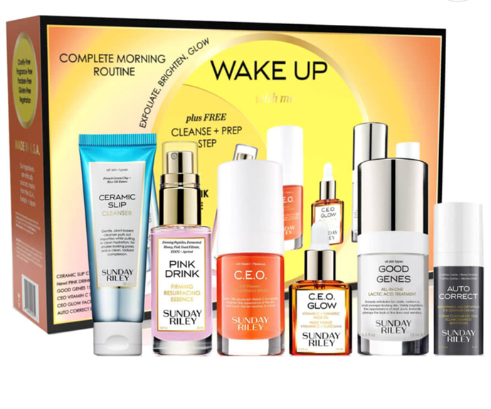 """[**Skincare pack**](https://www.mecca.com.au/sunday-riley/wake-up-with-me/I-045749.html?cgpath=gifts target=""""_blank"""") <br><br> We all know there's nothing more frustrating than not being able to decide which skincare product to buy for someone, or yourself. <br><br> Thankfully Sunday Riley has you covered with this $135 bundle, which has a whopping $264 worth of skincare goodness packed in. <br><br> The gift box features a complete skincare routine featuring Sunday Riley favourites. Designed to be used in the morning, this set includes cleanser, essence, treatment serums and eye cream."""