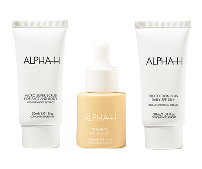 """[**SPF skincare kit**](https://www.sephora.com.au/products/alpha-h-summer-skincare-kit/v/default target=""""_blank"""") <br><br> We don't need to tell you how important it is to lather up with SPF in summer, so treat your friend to this luxe Alpha H sunscreen pack that will keep his or her skin radiant all season long. <br><br> If you're on a budget, this $50 bundle has you covered (literally). It includes three cult favourites - the Micro Super Scrub, Vitamin C Serum and the Protection Plus Daily SPF."""
