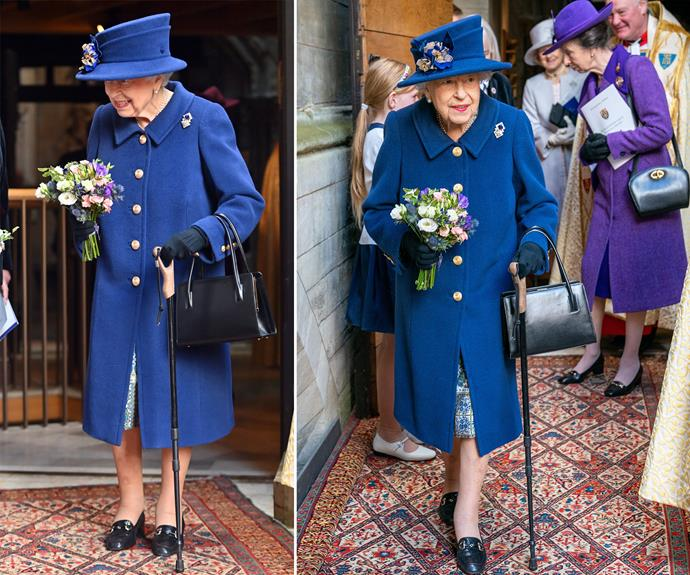 The Queen has been photographed using a walking stick.