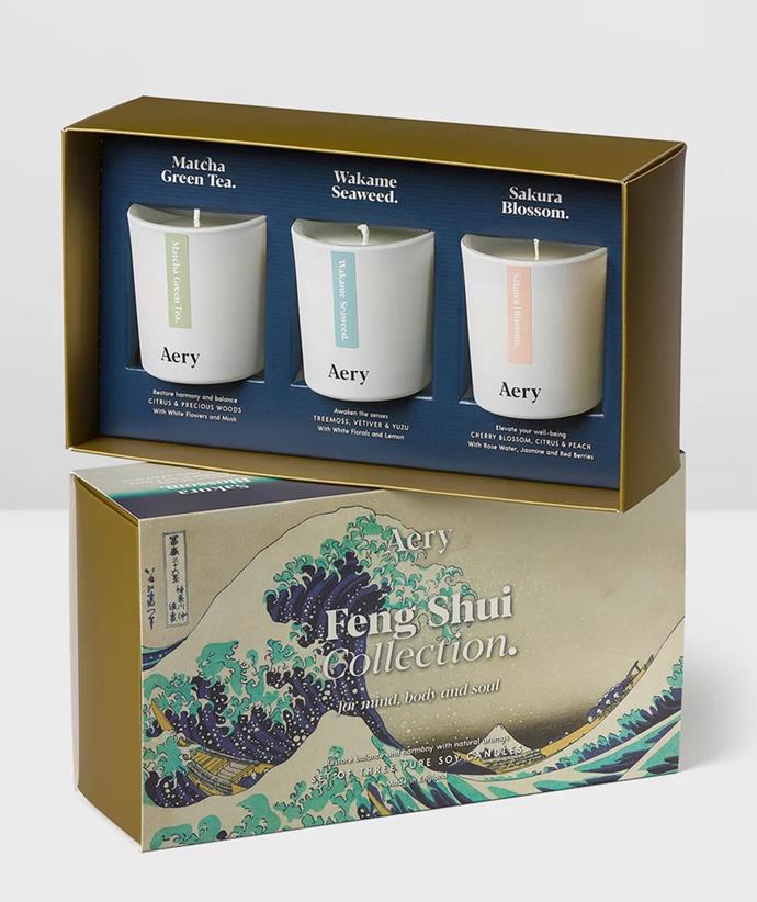 """**[Aery Living Candle Gift Set](https://fave.co/3lBtt4p target=""""_blank"""" rel=""""nofollow"""")** <br> Can't decide on one scent for your candle-loving friend or relative? Gift them three different candles inspired by Tokyo in this elegant gift set from Aery Living. <br><br> ***[Shop the Aery Living Tokyo Votive 3 Candle Gift Set Feng Shui, $89.95, from The Iconic.](https://fave.co/3lBtt4p target=""""_blank"""" rel=""""nofollow"""")***"""