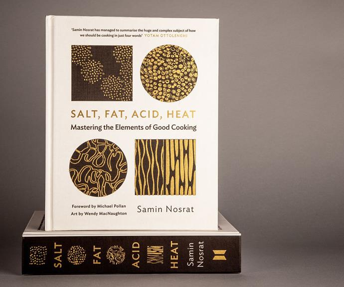 """**[*Salt, Fat, Acid, Heat* cookbook](https://fave.co/3Dxxwoz target=""""_blank"""" rel=""""nofollow"""")** <br> Gift the cook in your life the book home chefs have been obsessed with since its release in 2017 - *Salt, Fat, Acid, Heat: Mastering the Elements of Good Cooking* by Samin Nosrat. <br><br> ***[Shop Salt, Fat, Acid, Heat: Mastering the Elements of Good Cooking, $41.75, from Booktopia.](https://fave.co/3Dxxwoz target=""""_blank"""" rel=""""nofollow"""")***"""