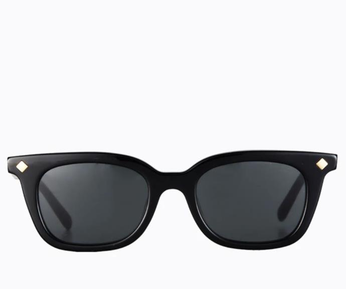 "Vinny, $150.00, [Poppy Lissiman.](https://poppylissiman.com/products/sunglasses/vinny-black-black?region=au&gclid=Cj0KCQjw5JSLBhCxARIsAHgO2Scdsk3rlrzPLySRM4mi_2eN4jJf4DMre8yVo9unxzumUSKSPdYfYggaAjwfEALw_wcB|target=""_blank"")"