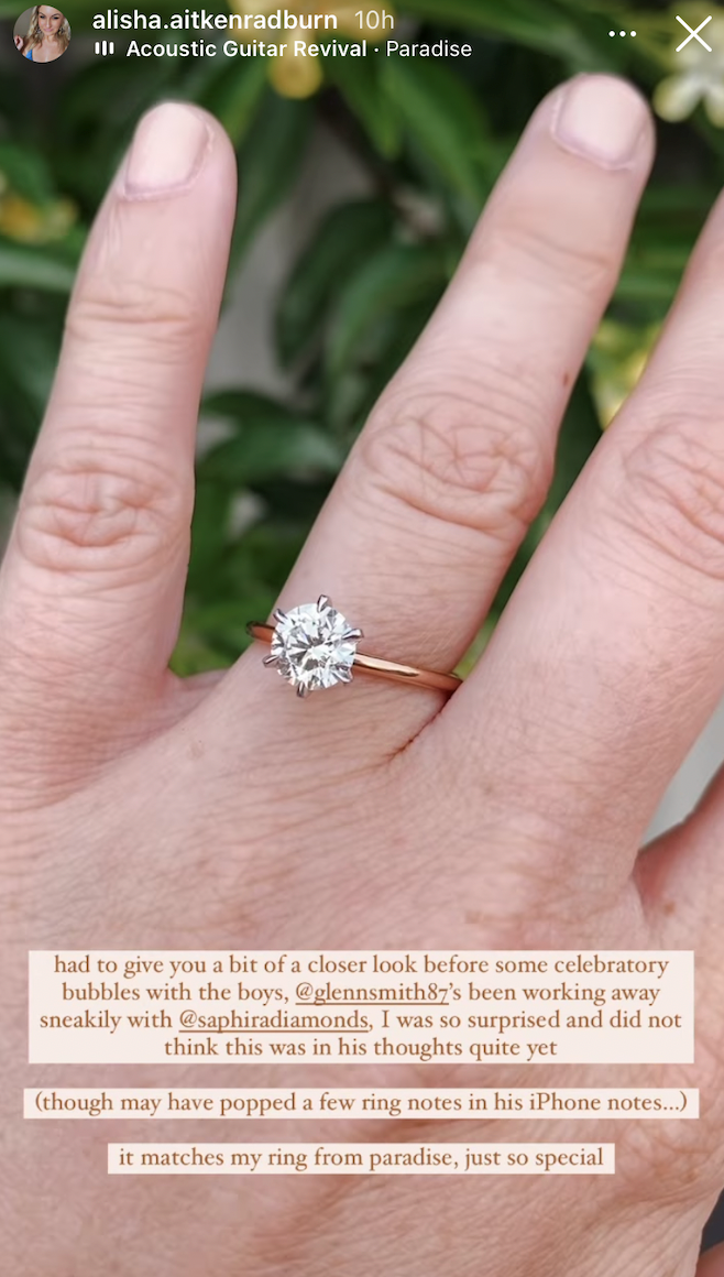 The engagement ring was designed by Glenn himself.