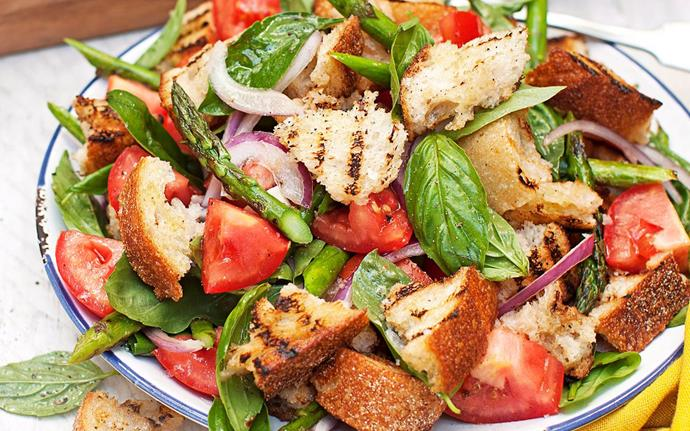Make a [panzanella](http://www.foodtolove.co.nz/recipes/barbecued-asparagus-panzanella-salad-8470). This Italian dish includes pieces of stale bread that soak up all the salad juices.