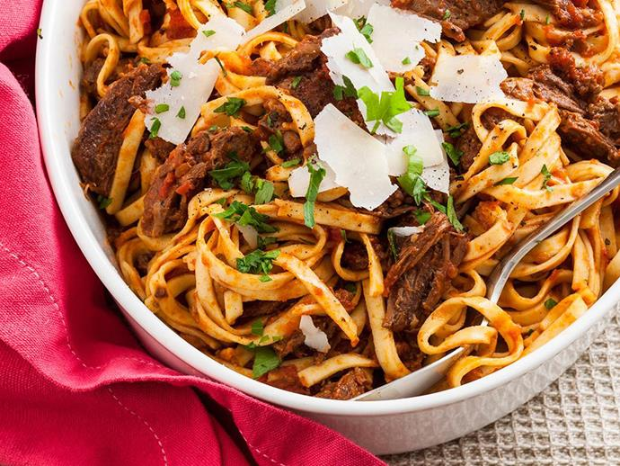 Dried pasta can last indefinitely, for you to use in dishes like this Beef ragu linguine.