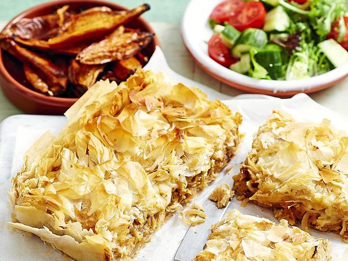 It's perfectly safe to chop off the mould-affected area and keep enjoying cheese, like in this Caramelised onion and gruyère pie