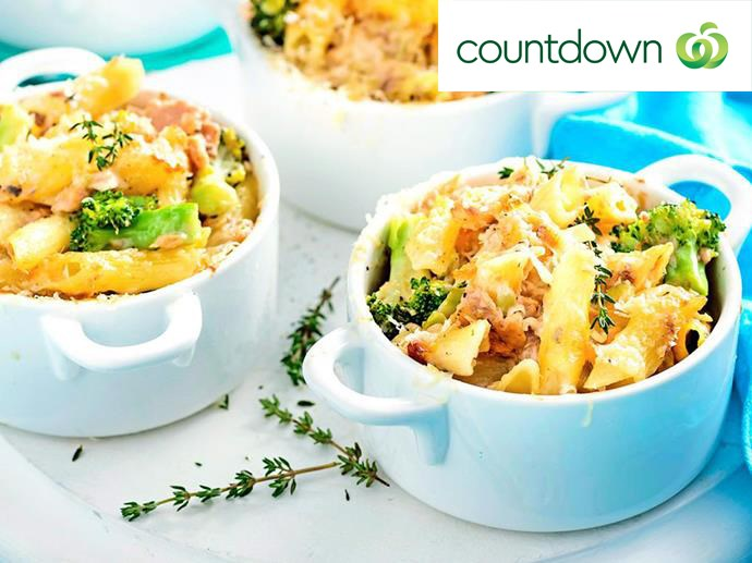 "Creamy [salmon and broccoli penne pasta pots](http://www.foodtolove.co.nz/recipes/gluten-free-creamy-salmon-broccoli-and-penne-pasta-pots-38277|target=""_blank"") are a tasty dinner option"