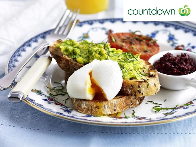 "[Avocado mashed with lemon on toast](http://www.foodtolove.co.nz/recipes/avocado-mash-on-toast-with-poached-egg-11033|target=""_blank"") is a breakfast classic."