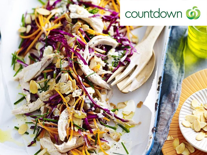 """[Blue cheese, apple & barbecued chicken slaw](http://www.foodtolove.co.nz/recipes/blue-cheese-apple-and-barbecued-chicken-slaw-28567 target=""""_blank"""")"""