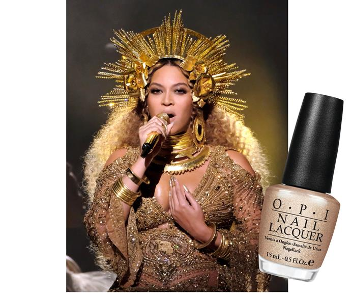 On Grammys day, Beyonce chose O.P.I's shimmering shade Glitzerland, $19.95, to complement her show-stopping stage and red-carpet outfits.