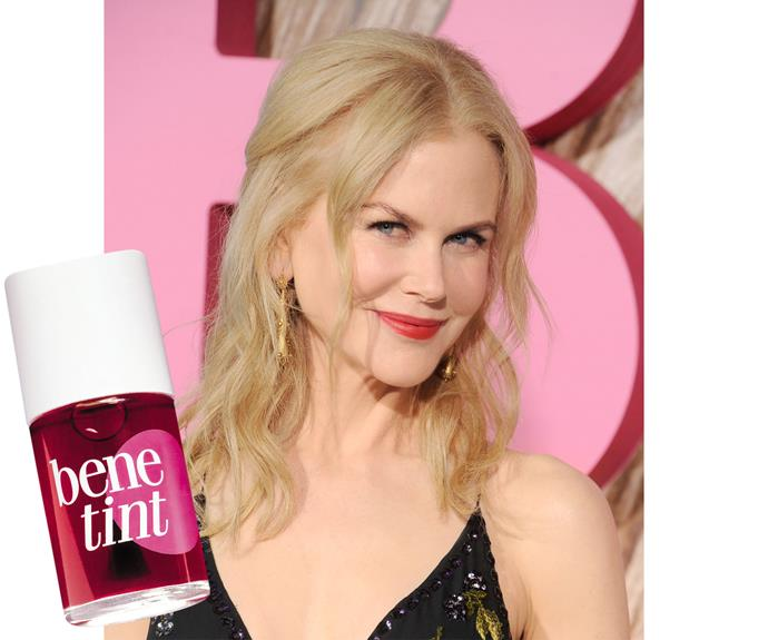 Busy mum Nicole Kidman likes multi-tasker Benefit Benetint, $57, for a natural flush that suits her porcelain skin.