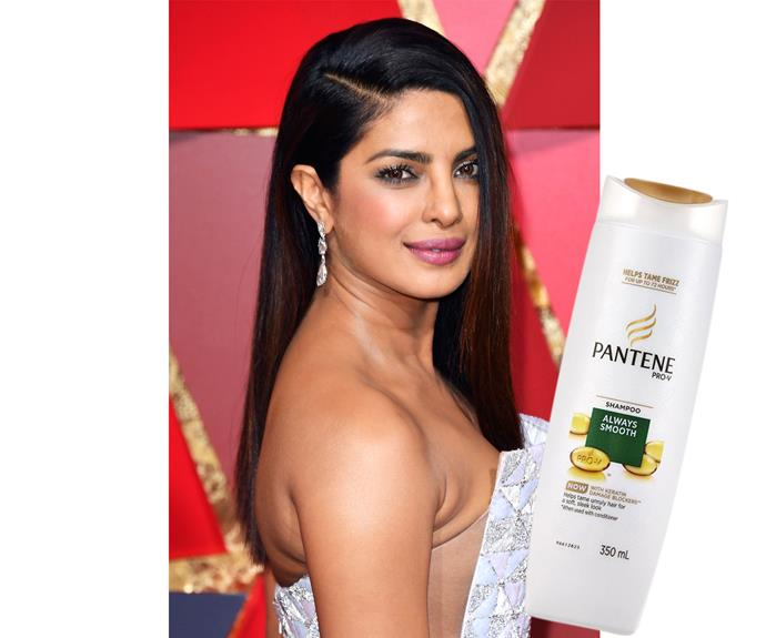 With some of the best locks in the business, actress Priyanka Chopra keeps vher hair shiny and sleek by washing daily with Pantene Always Smooth Shampoo, $7.