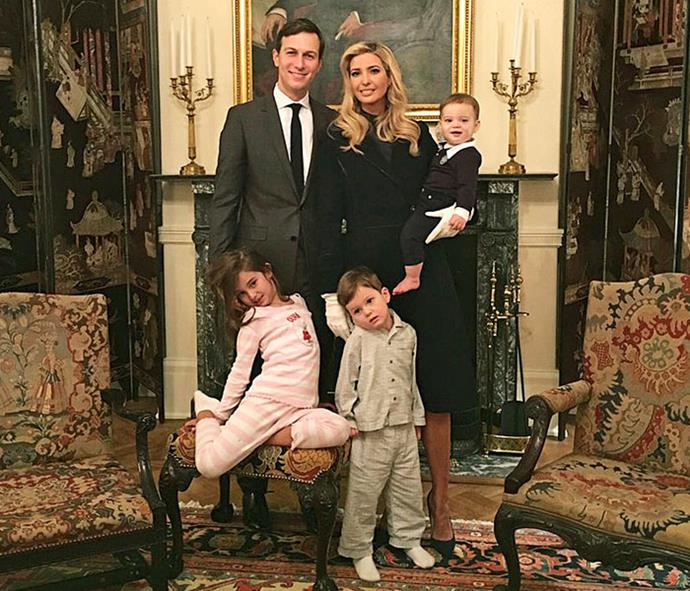 With husband Jared and their children (from left) Arabella, Joseph and Theodore, tellingly photographed at Blair House, across the road from the White House.