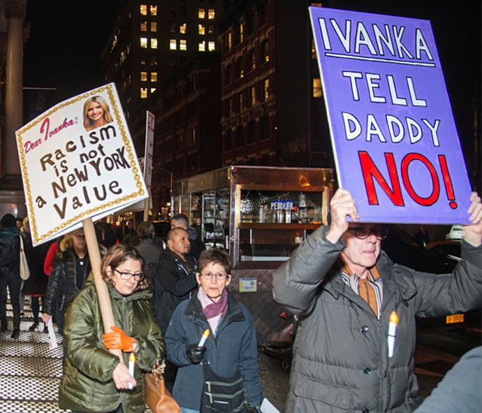 """""""Dear Ivanka"""" protesters outside her apartment in New York."""