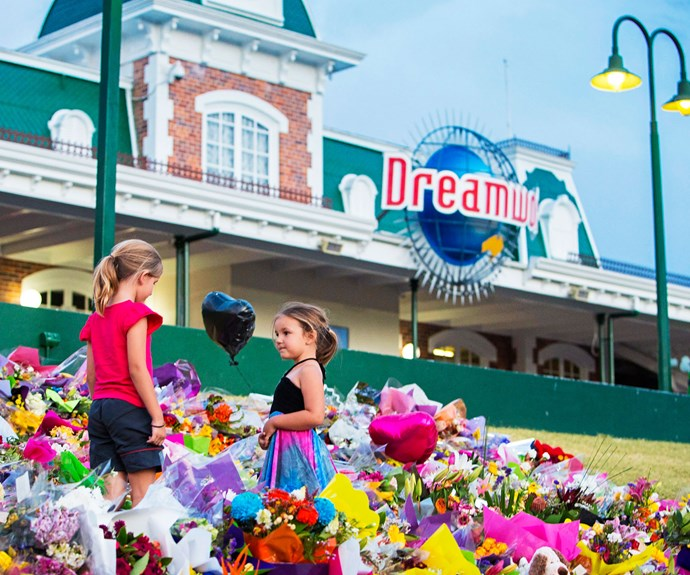 Floral tributes covered the entrance to Dreamworld in tribute to the  four people  killed on the Thunder Rapids ride