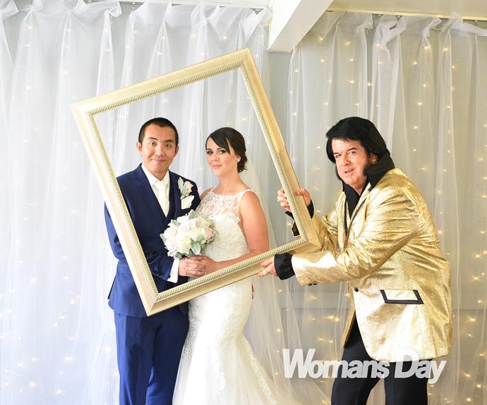 The couple were married at the Little Vegas Chapel, by an Elvis Presley impersonator.