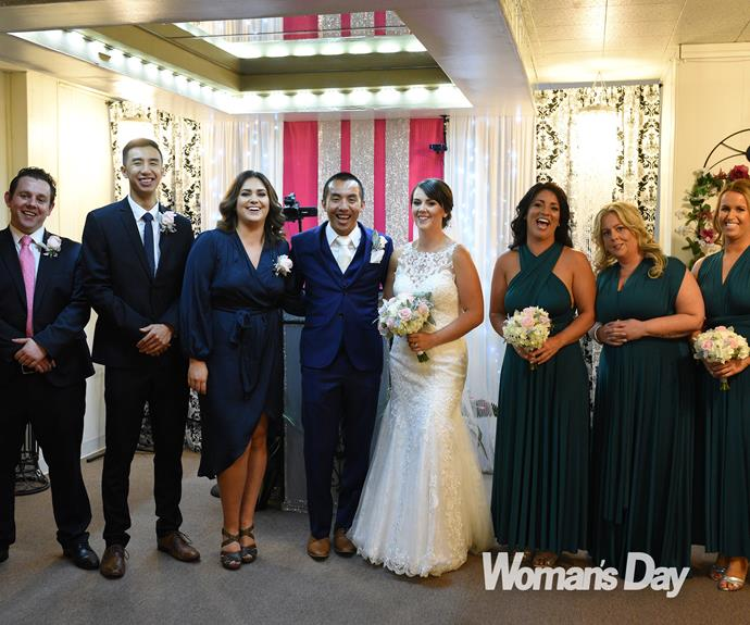 The couple tied the knot in front of a close group of family and friends.