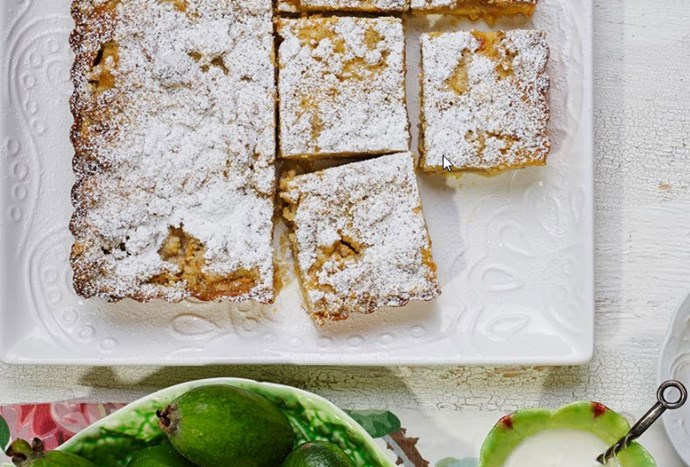 [Feijoa and custard crumble tart - click here for the recipe](http://www.foodtolove.co.nz/recipes/feijoa-and-custard-crumble-tart-22147)