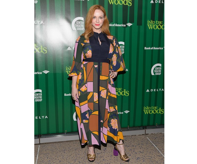 Actor Christina Hendricks showed she's not afraid of colour in this patchwork print Roksanda dress and sandals with a purple velvet heel.