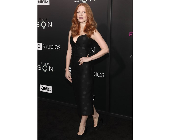 Actor Jessica Chastain wowed in figure-hugging, spotty LBD by No.21 at a friend's premiere this week.