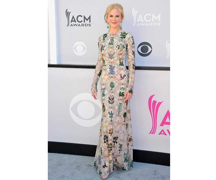 No stranger to the red carpet, Nicole Kidman wore a medieval-inspired Alexander McQueen dress to the Country Music Awards.