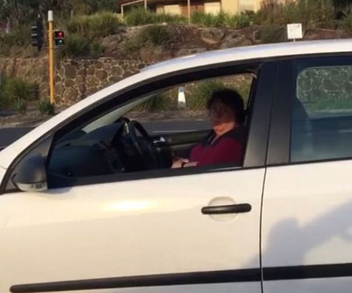 Australian woman unleashes on driver in road rage incident.