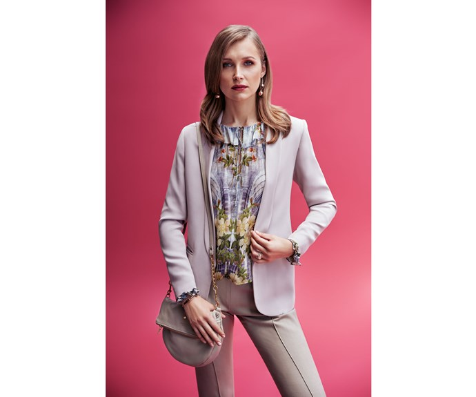Blazer $589, by Juliette Hogan. Top, $499, by Trelise Cooper. Pants, $185, by Harman Grubiša. Bag, $540, by Deadly Ponies. Earrings, $5,495, and rings (stacked on left hand ring finger) $1,095, and $3,450, by Partridge Jewellers. Bangle (right hand top), $90, by Mimco. Bracelet (right hand bottom), $159, by Swarovski.