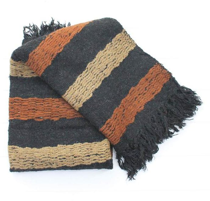 Throw, $95, by [*The Importer*](https://www.theimporter.co.nz/collections/throws/products/black-henna-stripe-throw).