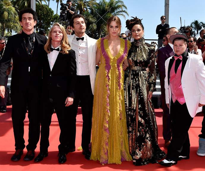 Sasha poses with her co-stars (including Shia LaBeouf and Riley Keough) at the Cannes Film Festival premiere of *American Honey*. Photo: Getty