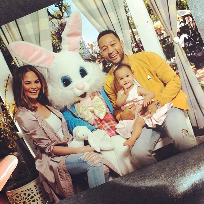 Chrissy Teigen and John Legend meet the Easter bunny.