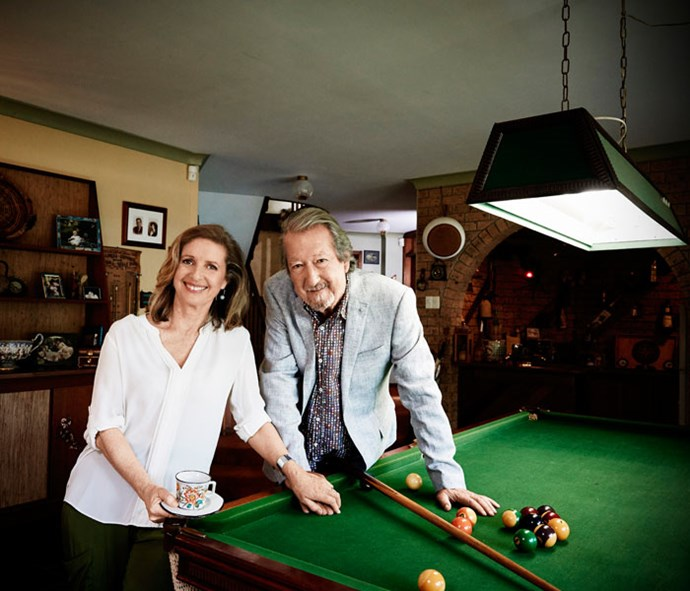 The film's stars, Michael Caton and Anne Tenney, in the pool room.