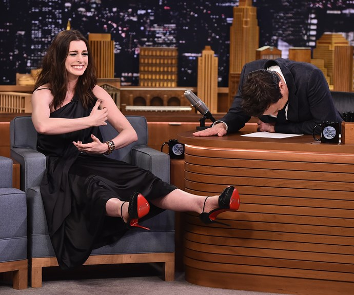 Anne Hathaway has Jimmy Fallon in stitches during her appearance on his late night show.