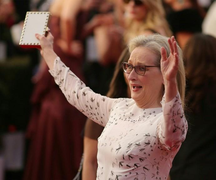 Meryl Streep pulls a face at the SAG Awards.