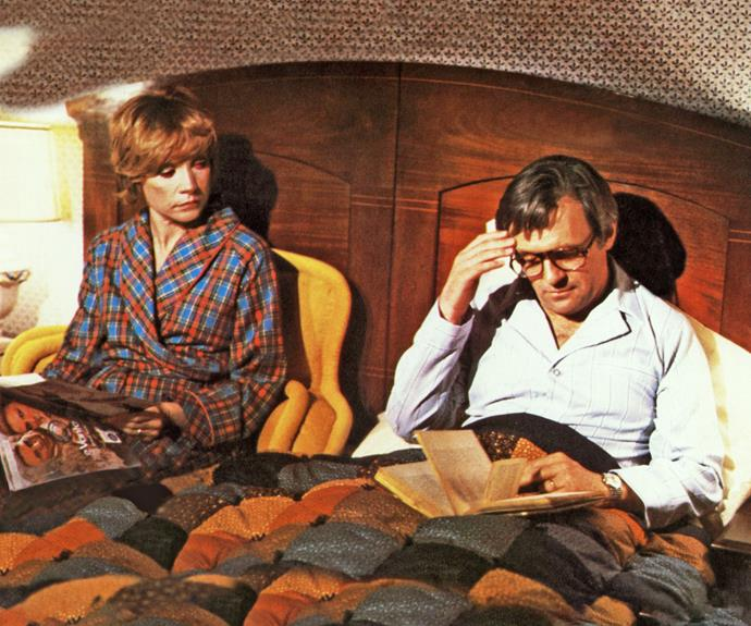 """**Anthony Hopkins & Shirley MacLaine  in *A Change of Seasons*** He apparently found her overbearing and annoying! """"I didn't like him either,"""" says Shirley."""