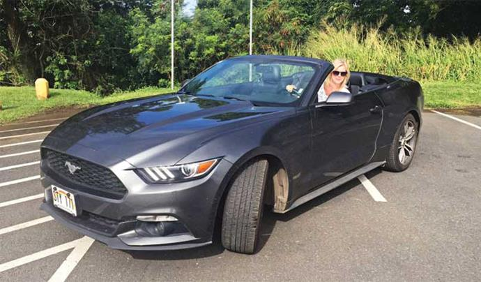When in Hawaii! We hired this convertible Mustang – see the wind in my hair?