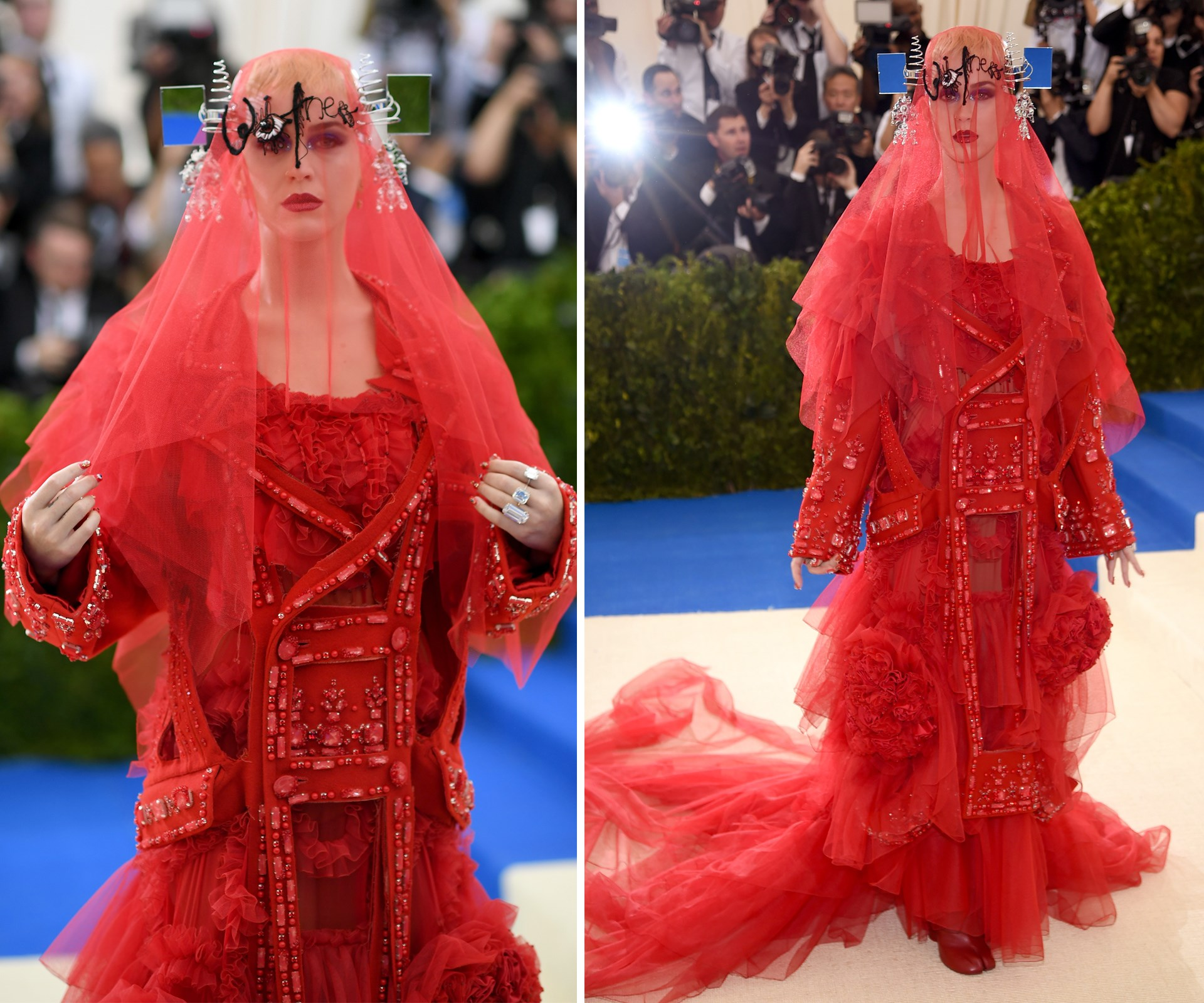 "**Louise Hilsz, fashion and style editor: Katy Perry in custom John Galliano for Maison Margiela.** ""Always pushing the envelope, Katy Perry never goes unnoticed."""