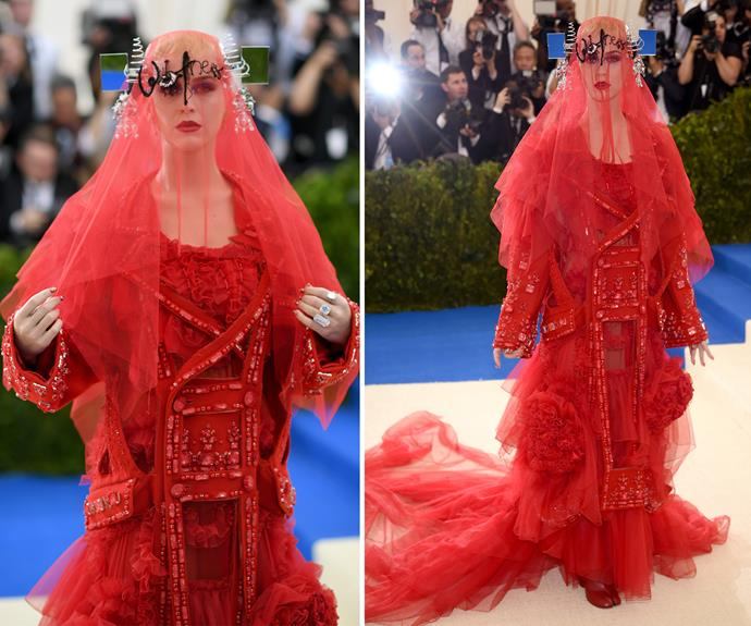 **WORST:** Katy Perry turned heads in her John Galliano-designed Maison Margiela gown, but for all the wrong reasons.