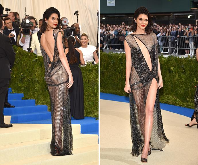 **WORST:** Kendall Jenner's barely-there La Perla gown wasn't a hit with us.