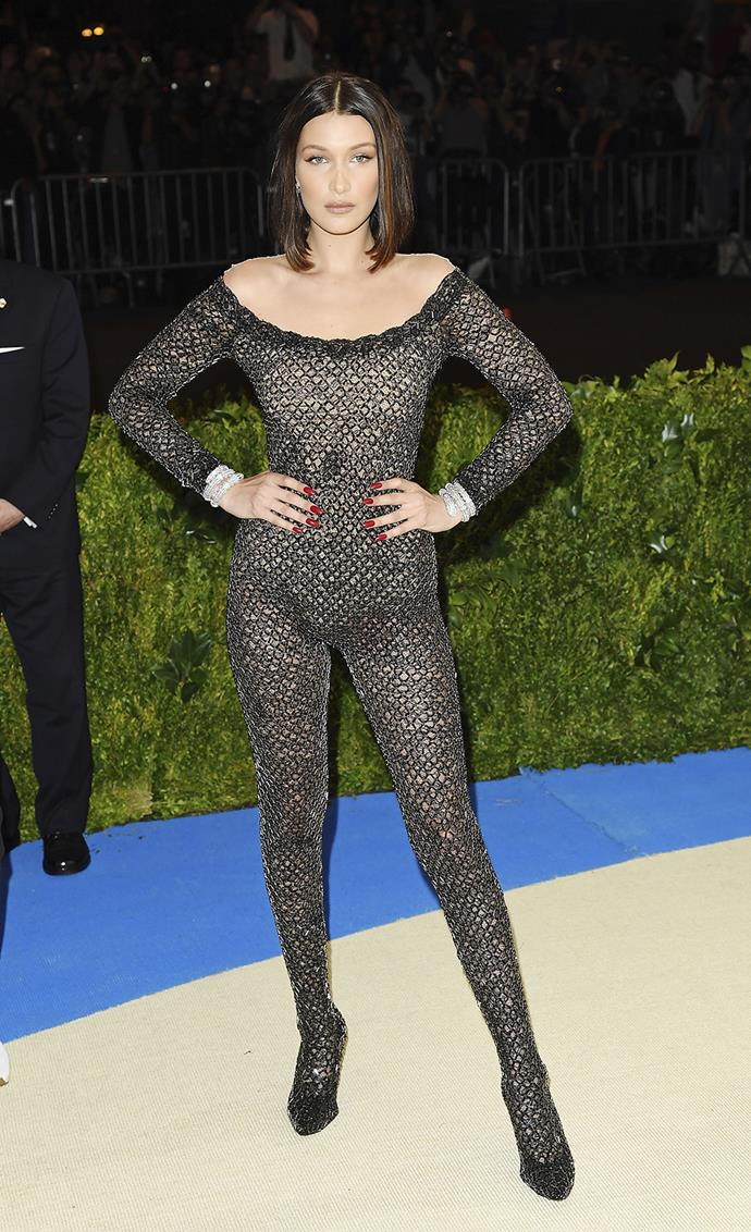 **WORST:** Bella Hadid's sheer bodysuit by Alexander Wang was a bizarre choice for the occasion.