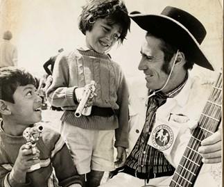 Bringing some joy  to kids at  Barnado's  in 1976.