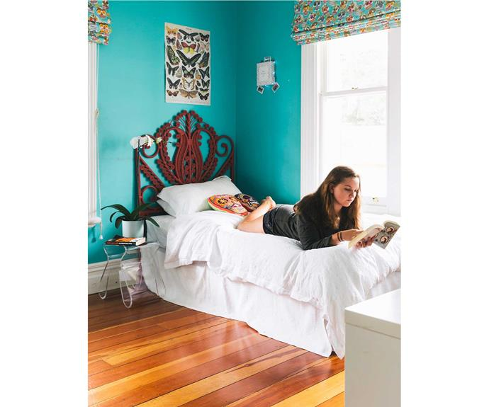 Cleo chose Calaveras in Turquoise by Alexander Henry from Bolt of Cloth for her blind. The Mexican headboard is one oftwo Kitchin found in Wellington. Thesecond is in the main bedroom.  *Photos: Duncan Innes/proof agency.*