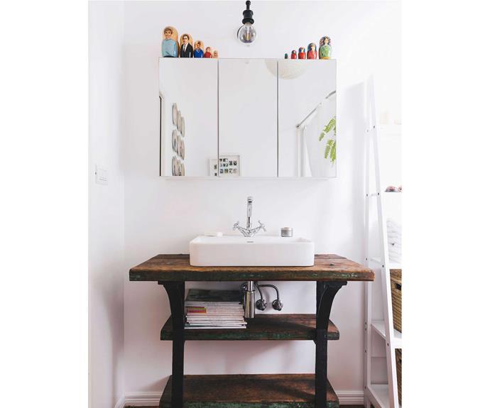 Kumar-Ward had the vanity custom-made to bring an old-world feel to the bathroom.   *Photos: Duncan Innes/proof agency.*