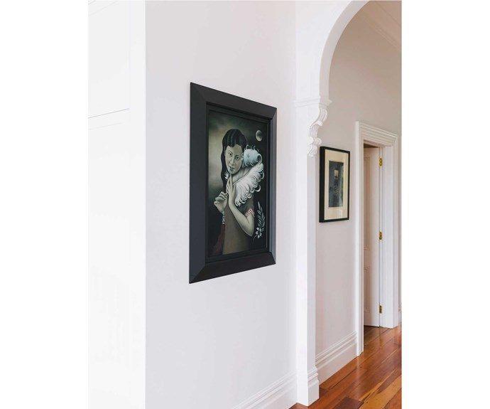 A painting by Heather Straka in the hallway.   *Photos: Duncan Innes/proof agency.*