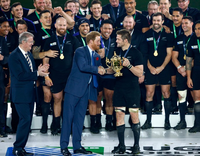 Prince Harry with former All Blacks captain Richie McCaw at the 2015 Rugby World Cup final at Twickenham. Photo: Getty Images